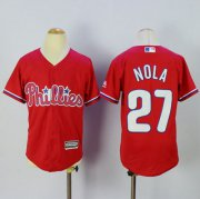 Wholesale Cheap Phillies #27 Aaron Nola Red Alternate Cool Base Stitched Youth MLB Jersey