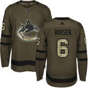 Wholesale Cheap Adidas Canucks #6 Brock Boeser Green Salute to Service Youth Stitched NHL Jersey