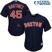 Wholesale Cheap Red Sox #45 Pedro Martinez Navy Blue New Cool Base 2018 World Series Stitched MLB Jersey