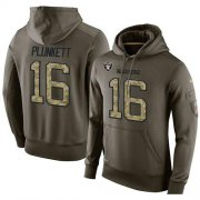 Wholesale Cheap NFL Men's Nike Oakland Raiders #16 Jim Plunkett Stitched Green Olive Salute To Service KO Performance Hoodie