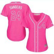 Wholesale Cheap Braves #24 Deion Sanders Pink Fashion Women's Stitched MLB Jersey