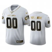 Wholesale Cheap Seattle Seahawks Custom Men's Nike White Golden Edition Vapor Limited NFL 100 Jersey