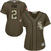 Wholesale Cheap White Sox #2 Nellie Fox Green Salute to Service Women's Stitched MLB Jersey