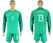Wholesale Cheap Greece #13 Vellidis Green Goalkeeper Long Sleeves Soccer Country Jersey