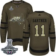 Wholesale Cheap Adidas Capitals #11 Mike Gartner Green Salute to Service Stanley Cup Final Champions Stitched NHL Jersey