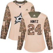 Cheap Adidas Stars #24 Roope Hintz Camo Authentic 2017 Veterans Day Women's Stitched NHL Jersey
