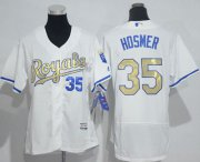Wholesale Cheap Royals #35 Eric Hosmer White Flexbase Authentic 2015 World Series Champions Gold Program Cool Base Women's Stitched MLB Jersey