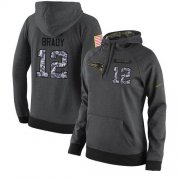 Wholesale Cheap NFL Women's Nike New England Patriots #12 Tom Brady Stitched Black Anthracite Salute to Service Player Performance Hoodie