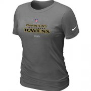 Wholesale Cheap Women's Nike Baltimore Ravens 2012 AFC Conference Champions Trophy Collection Long T-Shirt Dark Grey