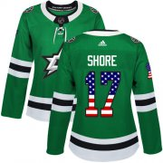 Wholesale Cheap Adidas Stars #17 Devin Shore Green Home Authentic USA Flag Women's Stitched NHL Jersey