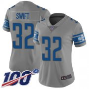 Wholesale Cheap Nike Lions #32 D'Andre Swift Gray Women's Stitched NFL Limited Inverted Legend 100th Season Jersey