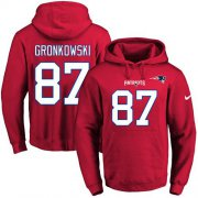 Wholesale Cheap Nike Patriots #87 Rob Gronkowski Red Name & Number Pullover NFL Hoodie