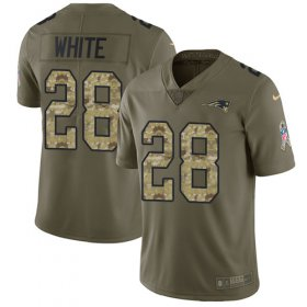Wholesale Cheap Nike Patriots #28 James White Olive/Camo Men\'s Stitched NFL Limited 2017 Salute To Service Jersey