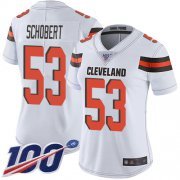 Wholesale Cheap Nike Browns #53 Joe Schobert White Women's Stitched NFL 100th Season Vapor Limited Jersey