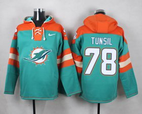 Wholesale Cheap Nike Dolphins #78 Laremy Tunsil Aqua Green Player Pullover NFL Hoodie