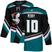 Wholesale Cheap Adidas Ducks #10 Corey Perry Black/Teal Alternate Authentic Stitched NHL Jersey