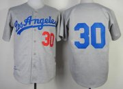 Wholesale Cheap Mitchell And Ness 1963 Dodgers #30 Maury Wills Grey Throwback Stitched MLB Jersey