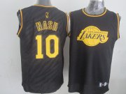 Wholesale Cheap Los Angeles Lakers #10 Steve Nash Revolution 30 Swingman 2014 Black With Gold Jersey