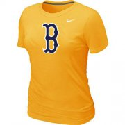 Wholesale Cheap Women's MLB Boston Red Sox Heathered Nike Blended T-Shirt Yellow