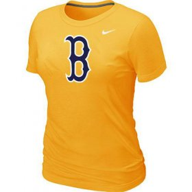 Wholesale Cheap Women\'s MLB Boston Red Sox Heathered Nike Blended T-Shirt Yellow