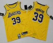 Wholesale Cheap Men's Los Angeles Lakers #39 Dwight Howard Yellow 2019 Nike Swingman Printed NBA Jersey