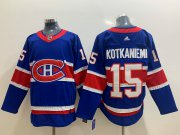 Wholesale Cheap Men's Montreal Canadiens #15 Jesperi Kotkaniemi Blue Adidas 2020-21 Alternate Authentic Player NHL Jersey