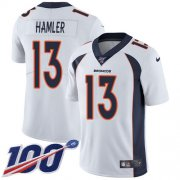 Wholesale Cheap Nike Broncos #13 KJ Hamler White Men's Stitched NFL 100th Season Vapor Untouchable Limited Jersey