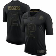 Cheap Green Bay Packers #12 Aaron Rodgers Nike 2020 Salute To Service Limited Jersey Black