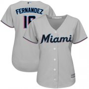Wholesale Cheap Marlins #16 Jose Fernandez Grey Road Women's Stitched MLB Jersey