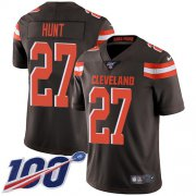 Wholesale Cheap Nike Browns #27 Kareem Hunt Brown Team Color Men's Stitched NFL 100th Season Vapor Untouchable Limited Jersey