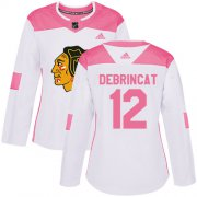 Wholesale Cheap Adidas Blackhawks #12 Alex DeBrincat White/Pink Authentic Fashion Women's Stitched NHL Jersey