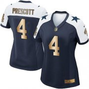 Wholesale Cheap Nike Cowboys #4 Dak Prescott Navy Blue Thanksgiving Throwback Women's Stitched NFL Elite Gold Jersey