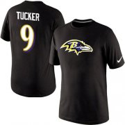 Wholesale Cheap Nike Baltimore Ravens #9 Justin Tucker Player Name and Number NFL T-Shirt Black