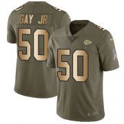 Wholesale Cheap Nike Chiefs #50 Willie Gay Jr. Olive/Gold Youth Stitched NFL Limited 2017 Salute To Service Jersey