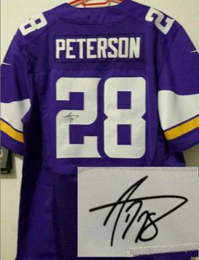 Wholesale Cheap Nike Vikings #28 Adrian Peterson Purple Team Color Men\'s Stitched NFL Elite Autographed Jersey
