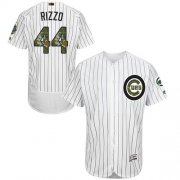 Wholesale Cheap Cubs #44 Anthony Rizzo White(Blue Strip) Flexbase Authentic Collection Memorial Day Stitched MLB Jersey