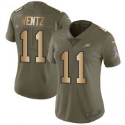 Wholesale Cheap Nike Eagles #11 Carson Wentz Olive/Gold Women's Stitched NFL Limited 2017 Salute to Service Jersey