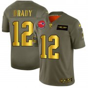Wholesale Cheap New England Patriots #12 Tom Brady NFL Men's Nike Olive Gold 2019 Salute to Service Limited Jersey