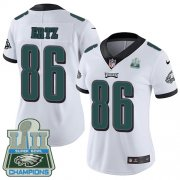 Wholesale Cheap Nike Eagles #86 Zach Ertz White Super Bowl LII Champions Women's Stitched NFL Vapor Untouchable Limited Jersey