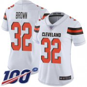 Wholesale Cheap Nike Browns #32 Jim Brown White Women's Stitched NFL 100th Season Vapor Limited Jersey