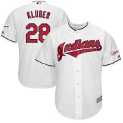 Wholesale Cheap Cleveland Indians #28 Corey Kluber Majestic Home 2019 All-Star Game Patch Cool Base Player Jersey White