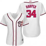 Wholesale Cheap Nationals #34 Bryce Harper White Women's Fashion Stitched MLB Jersey