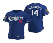 Wholesale Cheap Men's Los Angeles Dodgers #14 Enrique Hernandez Royal 2020 World Series Authentic Flex Nike Jersey