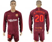 Wholesale Cheap Barcelona #20 S.Roberto Sec Away Long Sleeves Soccer Club Jersey