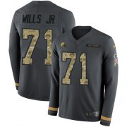 Wholesale Cheap Nike Browns #71 Jedrick Wills JR Anthracite Salute to Service Youth Stitched NFL Limited Therma Long Sleeve Jersey