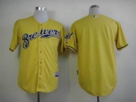 Wholesale Cheap Brewers Blank Yellow Alternate Cool Base Stitched MLB Jersey