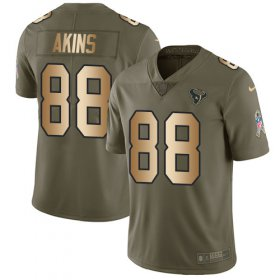 Wholesale Cheap Nike Texans #88 Jordan Akins Olive/Gold Youth Stitched NFL Limited 2017 Salute To Service Jersey