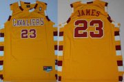 Wholesale Cheap Cleveland Cavaliers #23 Lebron James Hardwood Classic Yellow Swingman Jersey
