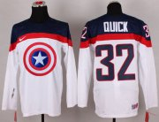 Wholesale Cheap Olympic Team USA #32 Jonathan Quick White Captain America Fashion Stitched NHL Jersey