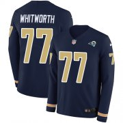 Wholesale Cheap Nike Rams #77 Andrew Whitworth Navy Blue Team Color Men's Stitched NFL Limited Therma Long Sleeve Jersey